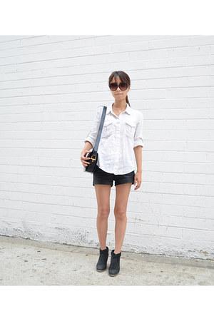 IRO shirt - Steve Madden boots - Celine bag - Zara shorts