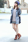 Blue-beanie-target-hat-black-mixed-print-vintage-jacket