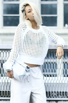 white mesh sweater