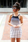 Navy-grid-motel-rocks-dress-navy-cat-eye-spitfire-sunglasses