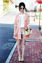 light pink Choies jacket - cream clutch vintage bag