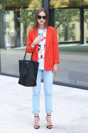 red F&F jacket - light blue H&M jeans - black Lacoste bag - black Zara heels