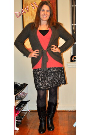 Steve Madden boots - unknown brand sweater - Accessorize tights - H&M cardigan -