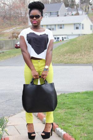 love print H&M top - plaited shopper Zara bag - Forever 21 sunglasses