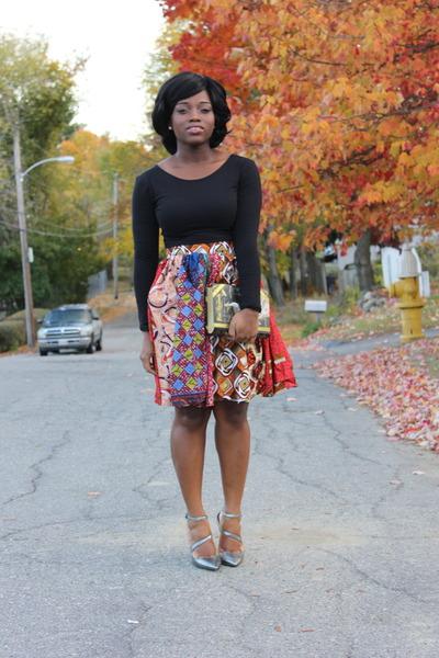 mixed prints self-made skirt