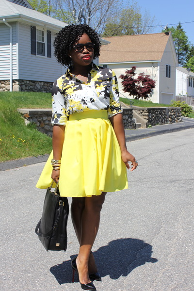 yellow self-made skirt - printed New York and Company shirt