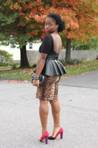 peplum belt self-made belt - pencil leopard Forever 21 skirt