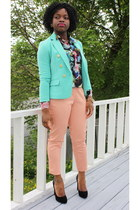 mint Forever 21 blazer - floral H&M top