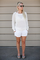 joe fresh style sweater - wilfred shorts - Ray Ban sunglasses - Aldo wedges
