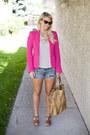 Hot-pink-zara-blazer-white-american-eagle-shorts-black-zara-t-shirt