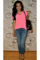 pink lace top H&M blouse - Zara shoes - Zara jeans - Aldo purse