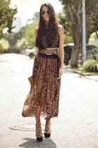 chiffon romwe skirt - paete Alphorria shirt - Schutz bag - Schutz heels