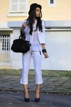 white HIT blazer - black Arezzo bag - blue Di Santini heels