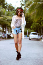 Oasap-boots-romwe-shorts-scaramuggio-multimarcas-cardigan
