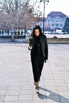 black maxi H&M dress - dark khaki Bershka boots - black Zara jacket