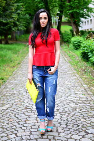 red peplum Zara top - navy boyfriend H&amp;M jeans - lime green clutch Bershka bag