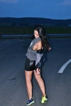 black Zara jacket - gray Zara top - black Bershka skirt