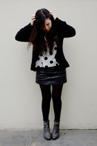 Forever 21 boots - Caffarena tights - leather BLANCO skirt