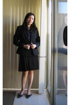 black g2000 blazer - black g2000 skirt - blue J Crew blouse - black Vincci shoes