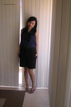blue J Crew top - black g2000 shorts - blue Vincci shoes - blue Diva Hairband ac