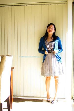 blue volcom skirt - gray Laurie & Joe dress - white Charles & Keith shoes - blue