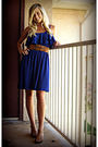 Blue-dress-brown-belt-brown-shoes