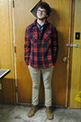 Dark-brown-generic-glasses-navy-gap-shirt-red-all-son-jacket-dark-khaki-le