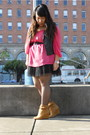 Pink-h-m-blouse-black-forever-21-dress-black-h-m-vest-brown-deena-ozzy-f