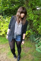 black vintage blazer - gray Urban Outfitters top - Miss Selfridge shorts - gray