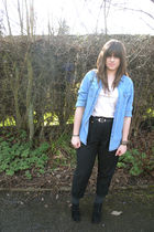black Topshop pants - blue Topshop shirt - black asos shirt - black boots