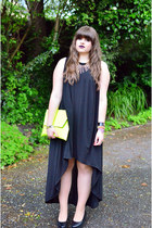 black COS dress - black flatform vagabond shoes - chartreuse clutch asoscom bag