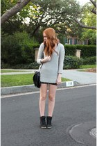 black leather chicnova shorts - heather gray mohair Zara sweater