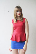 blue cotton H&M dress - red papermoon blouse