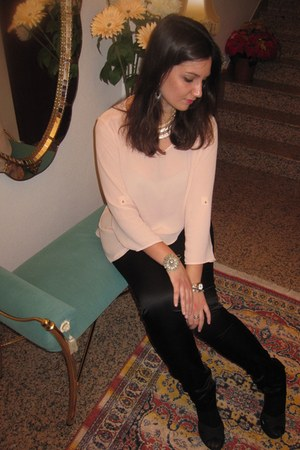 light pink Primark blouse - black Zara pants - silver Primark necklace