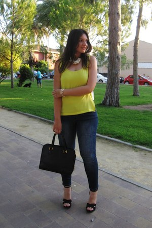 yellow pull&bear top - navy Venca jeans - black Givenchy bag