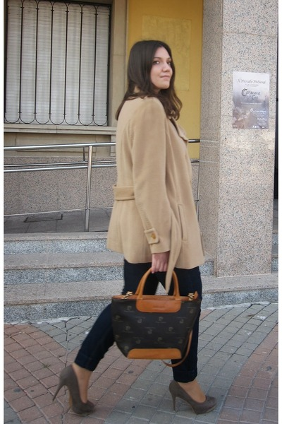 camel Zara coat - tawny Pierre Cardin bag - navy el corte ingles pants