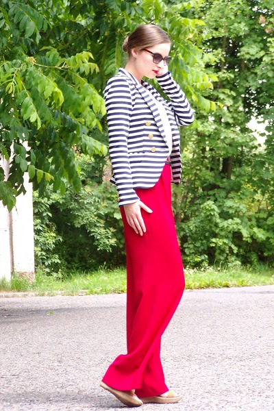 navy H&M jacket - ruby red SH pants