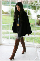 brown Stradivarius boots - heather gray BLANCO jeans - black Stradivarius cape -