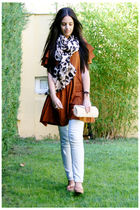 brown Zara shoes - white BLANCO bag - brown H&M scarf - brown H&M dress - gold P