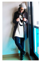 black Zara boots - navy BLANCO jeans - white H&M jumper - gray H&M coat - silver