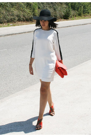 white Zara dress - black BLANCO hat - carrot orange Zara bag