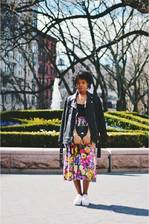 hot pink American Apparel skirt - black moto Forever 21 jacket