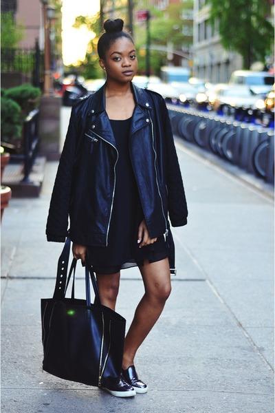 black Sheinside dress - black Forever 21 jacket