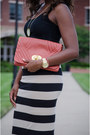 Tan-striped-free-people-skirt-red-clutch-south-moon-under-bag