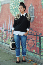 black modcloth sweater - cream Vintage Club Monaco blouse