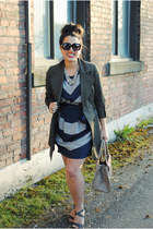 heather gray unknown dress - army green Plum jacket - light brown kate spade bag