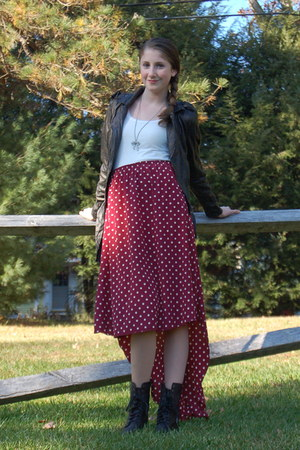black Steve Madden boots - black Forever 21 jacket - ruby red everly skirt