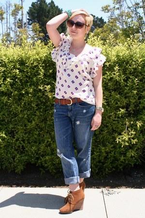 Gap jeans - Target belt - Anthropologie blouse - Steve Madden wedges