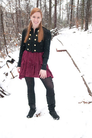 black Forever 21 jacket - black Candies boots - red vintage dress
