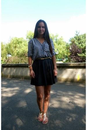 white striped Zara blouse - gold metallic Otter sandals